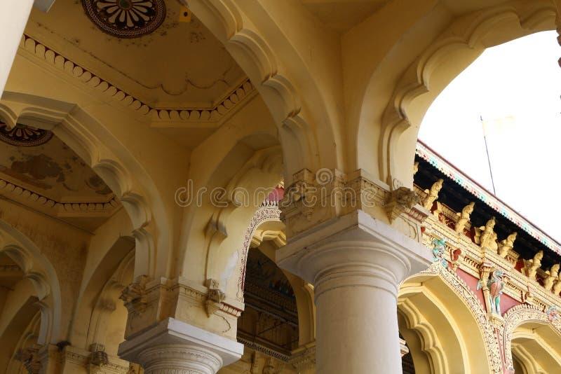 Thirumalai Nayakar Palace, Madurai, Tamil Nadu, India. Thirumalai Nayak Palace is a 17th-century palace erected in 1636 AD by King Thirumalai Nayak, a king of stock photo