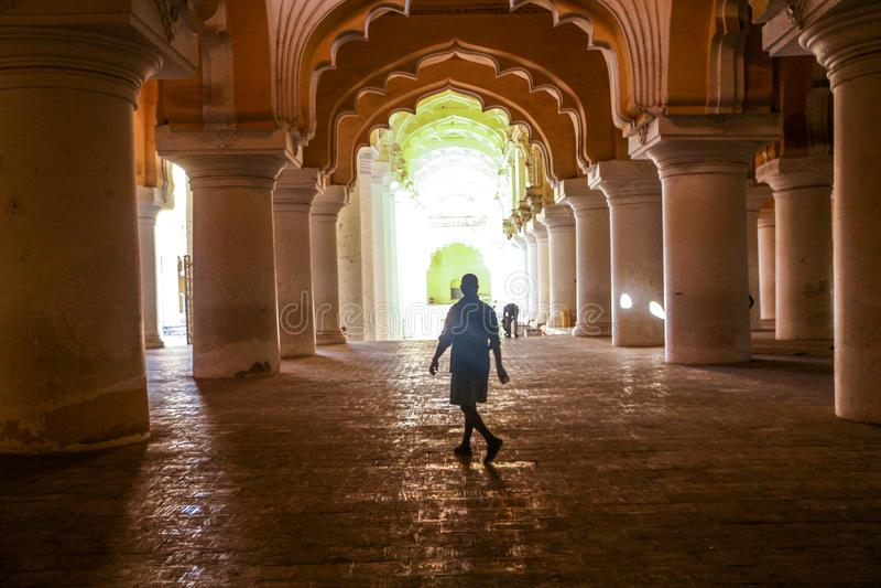 Thirumalai Nayakar Palace, Madurai, Tamil Nadu, India. Thirumalai Nayak Palace is a 17th-century palace erected in 1636 AD by King Thirumalai Nayak, a king of royalty free stock images