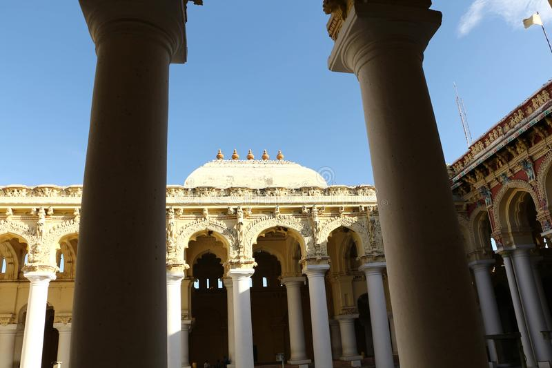 Thirumalai Nayakar Palace, Madurai, Tamil Nadu, India. Thirumalai Nayak Palace is a 17th-century palace erected in 1636 AD by King Thirumalai Nayak, a king of royalty free stock image