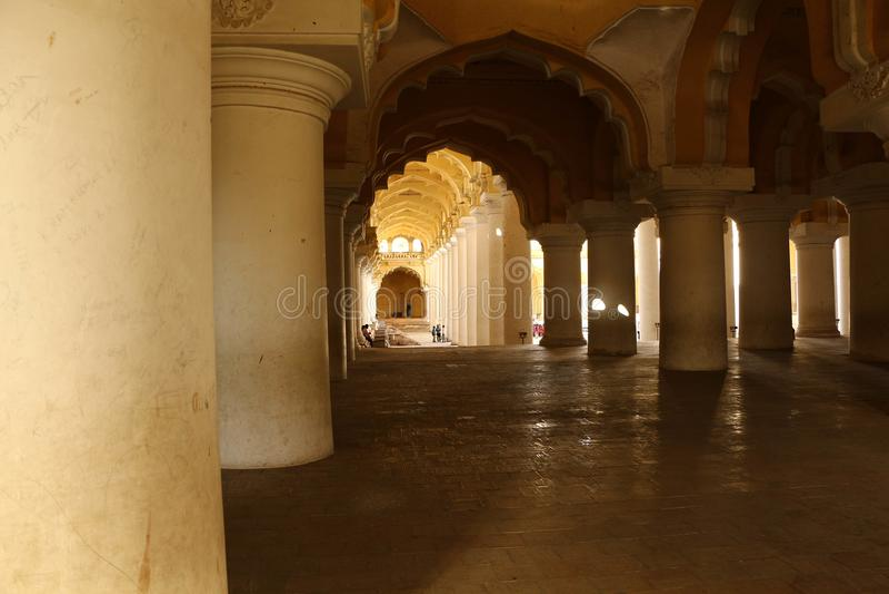 Thirumalai Nayakar Palace, Madurai, Tamil Nadu, India. Thirumalai Nayak Palace is a 17th-century palace erected in 1636 AD by King Thirumalai Nayak, a king of stock photos
