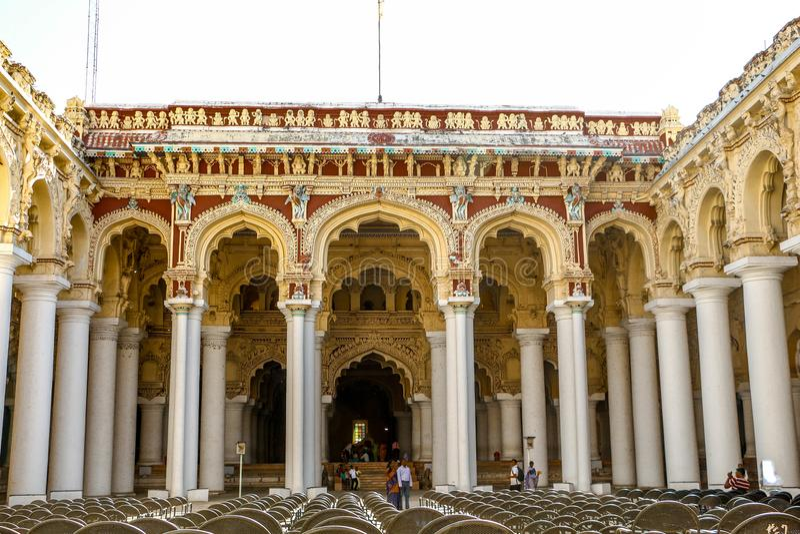 Thirumalai Nayakar Palace in madurai, Tamilnadu, India. Thirumalai Nayak Palace is a 17th-century palace erected in 1636 AD by King Thirumalai Nayak, a king of stock photography