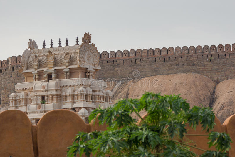 Thirumayam堡垒和寺庙的城垛 库存图片