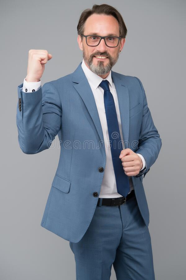 Free This Is Victory. Middle-aged Man With Eyeglasses. Looking Smart And Intelligent. Man With Beard And Glasses Feel Success Royalty Free Stock Images - 185031599