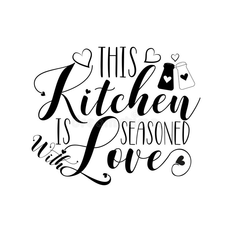 Free This Kitchen Is Seasoned With Love-positive Calligraphy, With Heart. Royalty Free Stock Photos - 166297568