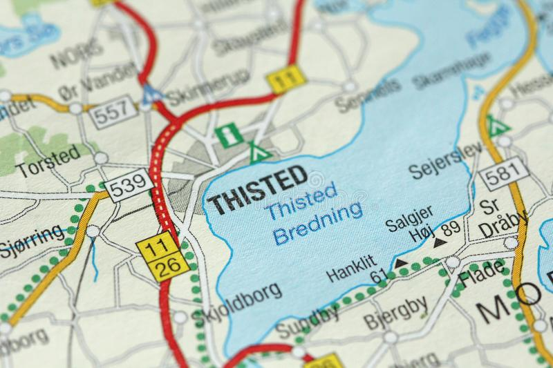 Thisted. Kongeriget Danmark. A paper map and roads on the map royalty free stock image