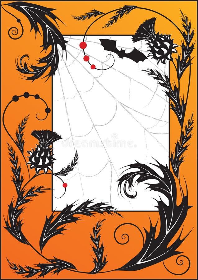 Thistle, spiderweb e bastão ilustração do vetor