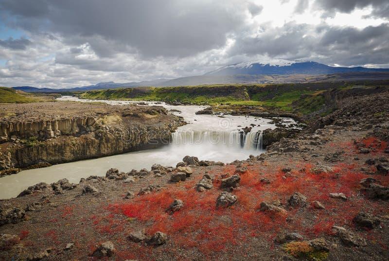 Thjofafoss Waterfall, ukryty klejnot w Islandii zdjęcie stock