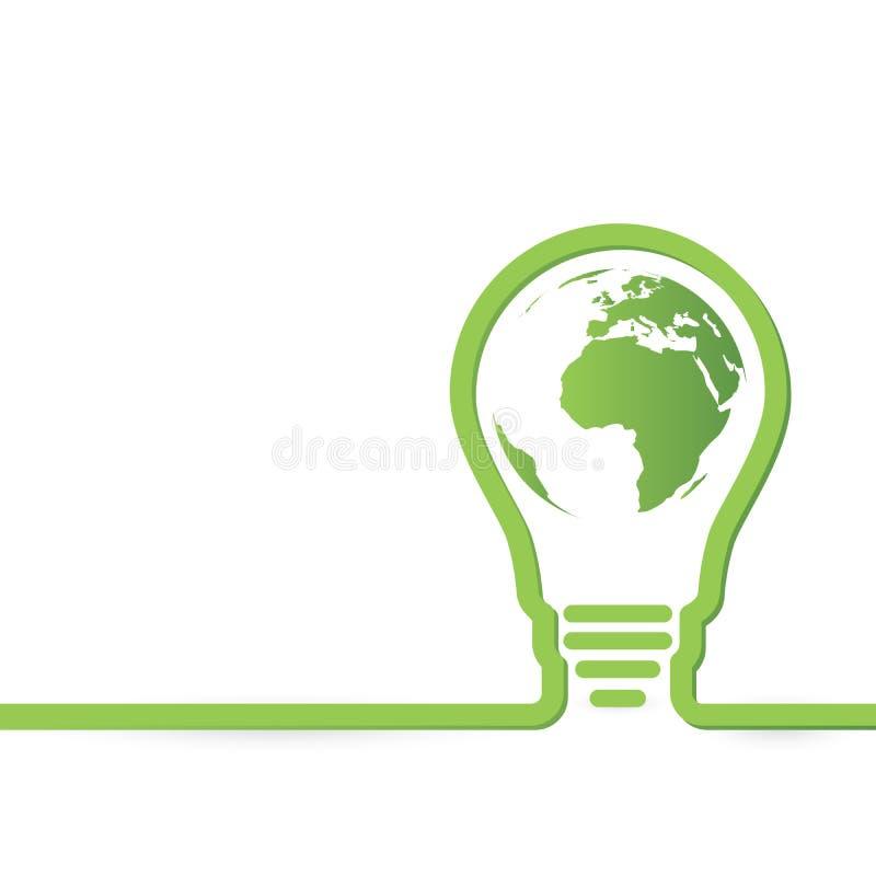 Thnk pone verde bombillas del concepto con el mapa del mundo dentro stock de ilustración