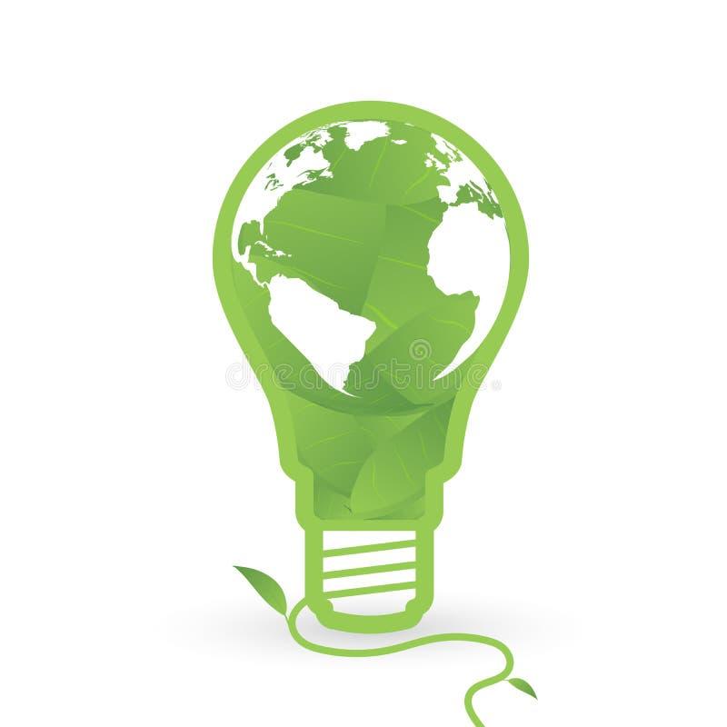 Thnk pone verde bombillas del concepto con el mapa del mundo y de la hoja dentro ilustración del vector