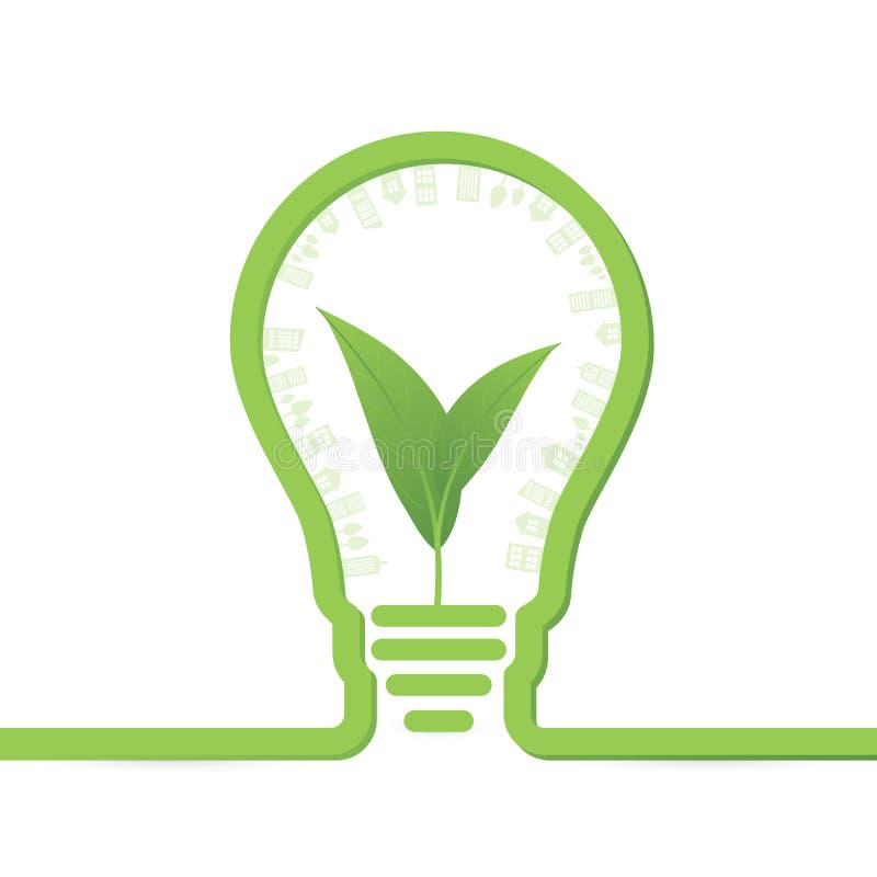 Thnk pone verde bombillas del concepto con la hoja dentro libre illustration
