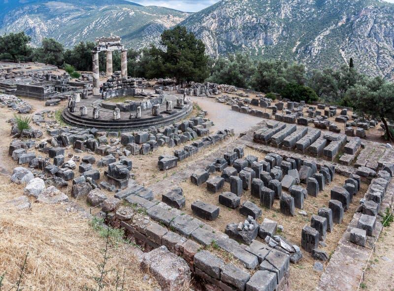Tholos在特尔斐希腊 免版税库存照片