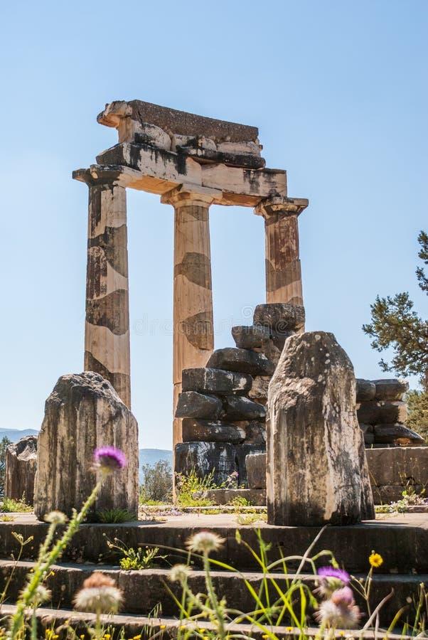 Tholos寺庙在特尔斐 免版税库存图片