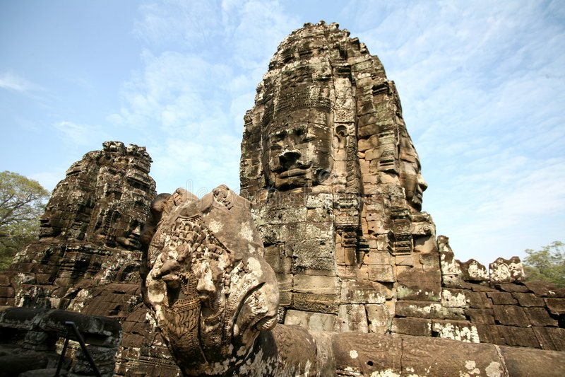 thom för angkorbayoncambodia tempel royaltyfria foton