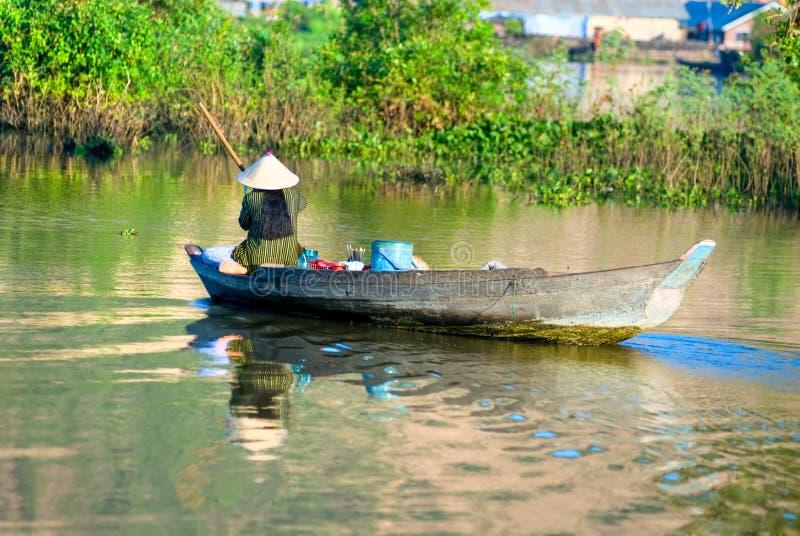 thom kompong рыболова Камбоджи стоковое изображение rf