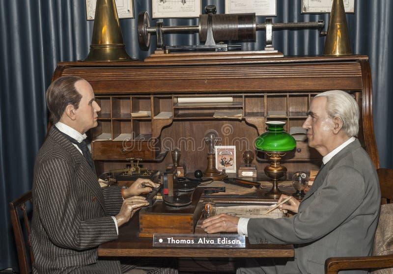 Thomas Alva Edison. Wax figure in the museum. Madrid, Spain royalty free stock photo