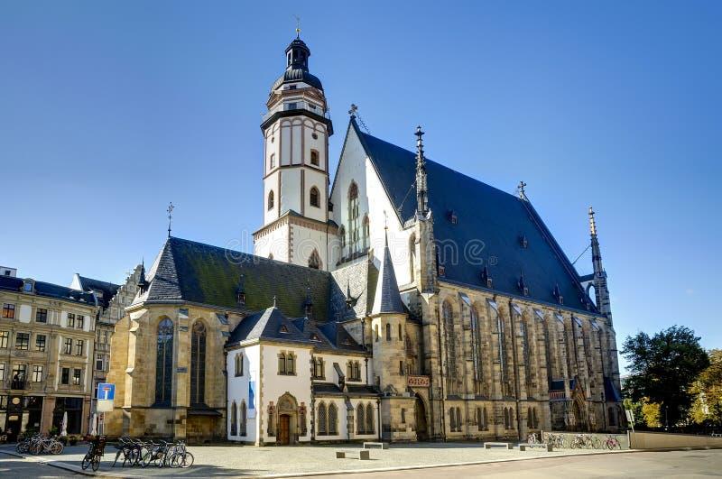 Thomas Church in Leipzig stock afbeelding