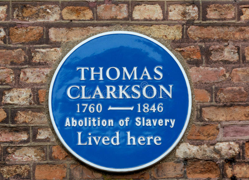 Thomas Clakson Plaque. Plaque to commemerate Thomas Clarkson - Slave Abolisionist royalty free stock photo