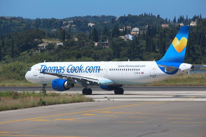 Thomas Cook Airbus immagini stock libere da diritti