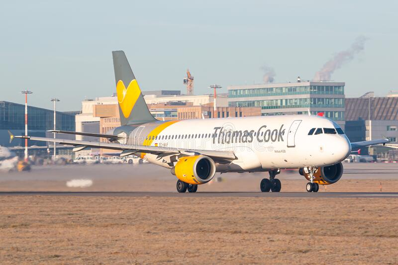 Thomas Cook Airbus A320 aeroplano all'aeroporto di Stoccarda fotografia stock