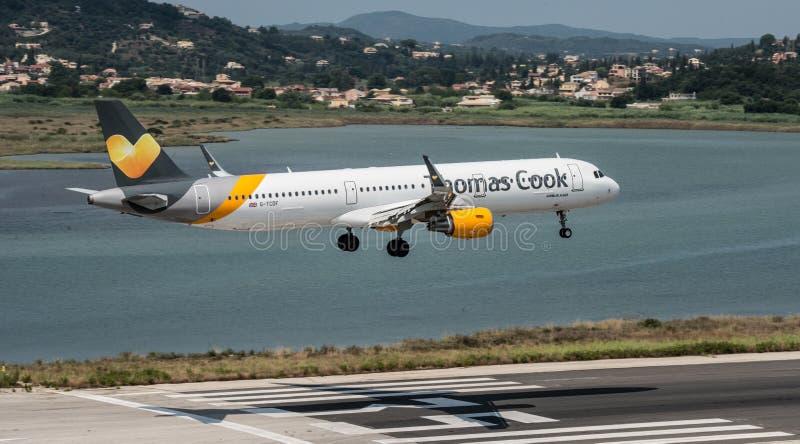 Thomas Cook Airbus Landing stock foto
