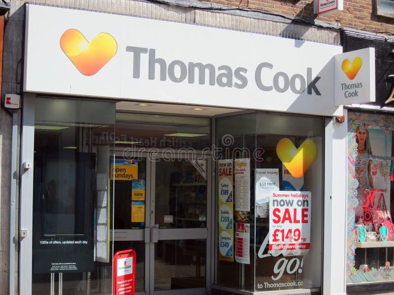 Thomas Cook resebyråman, researrangörer arkivfoton