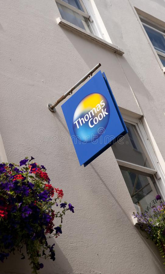 Thomas Cook Travel Agents sign on the High Street in the town of St Pierre Port St Peter Port, the main settlement of Guernsey, stock photography