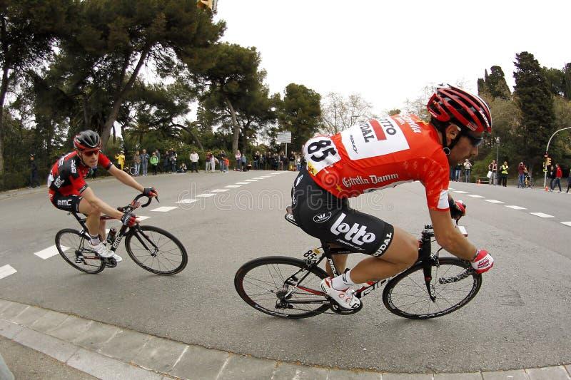 Thomas De Gendt av lottot Soudal och Ben Hermans av BMC Racing royaltyfria bilder