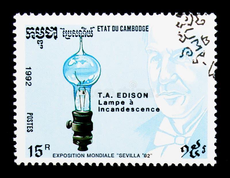 Thomas A Edison expo, uppfinnareserie, circa 1992 royaltyfria foton
