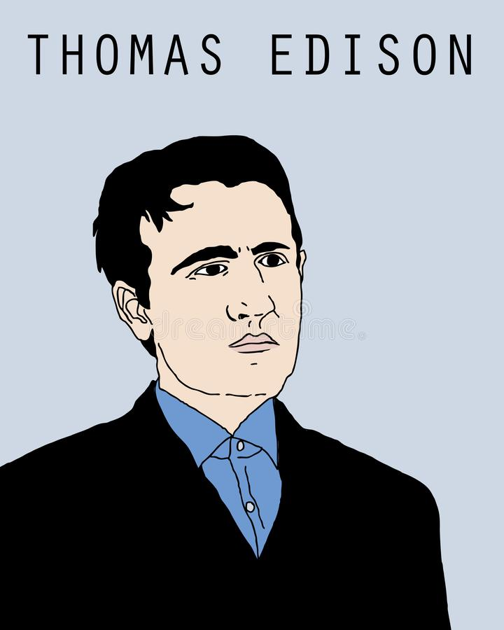 Thomas Edison. A simplified portrait of the famous American inventor Thomas Edison royalty free illustration
