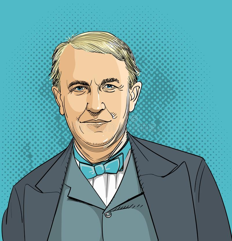Thomas Edison line art portrait, vector. Thomas Edison American inventor and businessman vector illustration