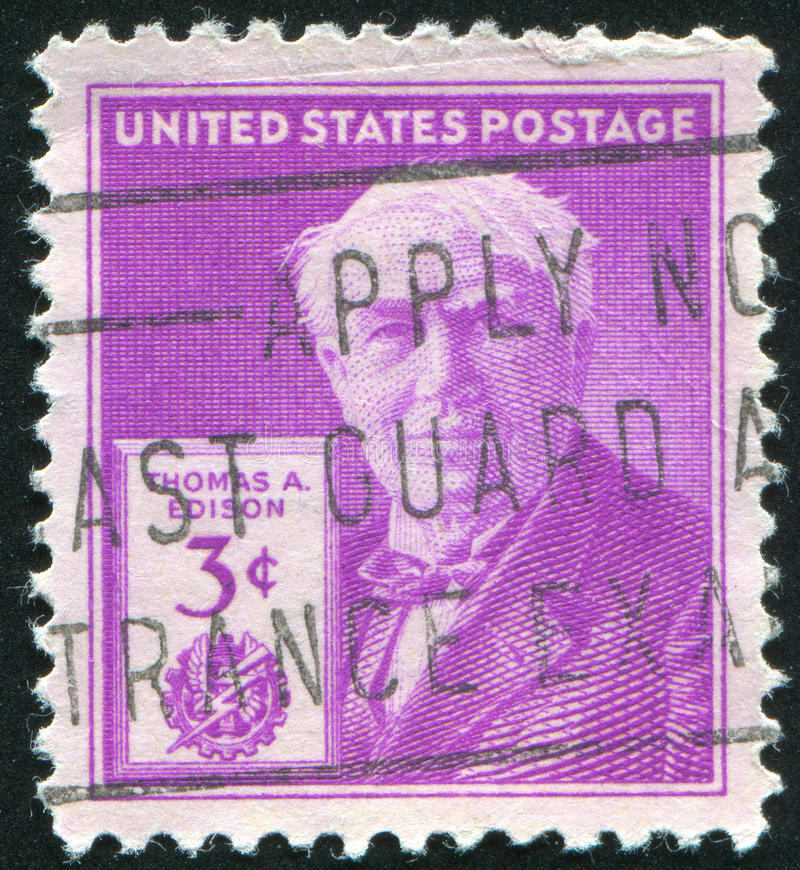 Thomas Edison. UNITED STATES - CIRCA 1946: stamp printed by United states, shows Thomas Edison, circa 1946 stock photography
