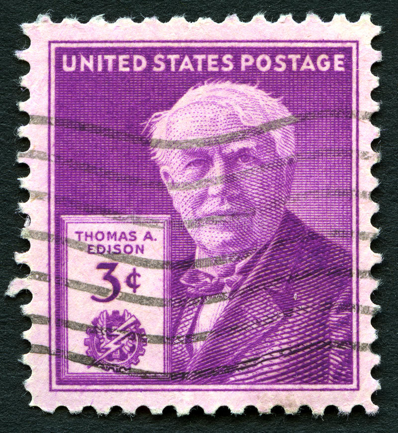 Thomas Edison US Postage Stamp. UNITED STATES OF AMERICA - CIRCA 1947: A used postage stamp from the USA depicting an illustration of famous inventor Thomas A royalty free stock photography