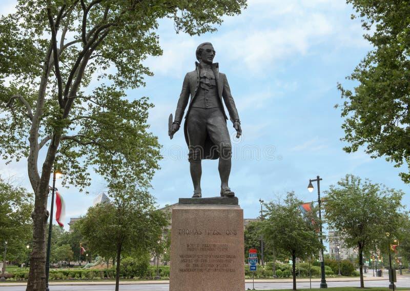 Thomas Fitzsimon bronsstaty 1946, syster Cities Park, Benjamin Franklin Parkway, Philadelphia, Pennsylvania royaltyfri foto