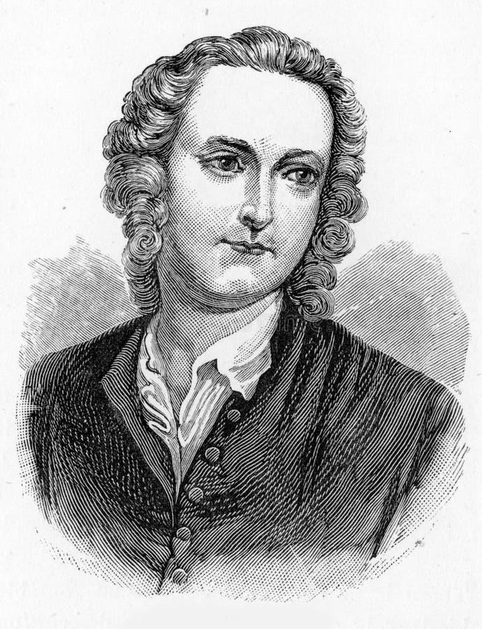Thomas Gray, poeta inglês, letra-escritor, erudito clássico ilustração stock