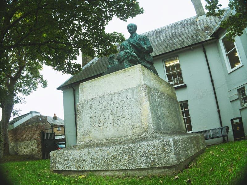 Thomas Hardy-beeldhouwwerk in Dorchester stock foto's