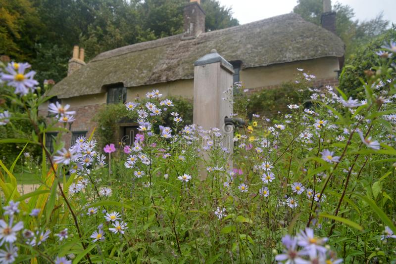 Thomas Hardy-plattelandshuisje dichtbij Hogere Bockhampton in Dorset stock fotografie