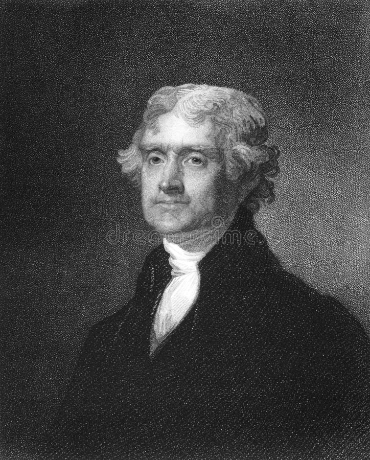 Thomas Jefferson. (1743-1826) on engraving from 1835. American Founding Father, the principal author of the Declaration of Independence and third President stock images