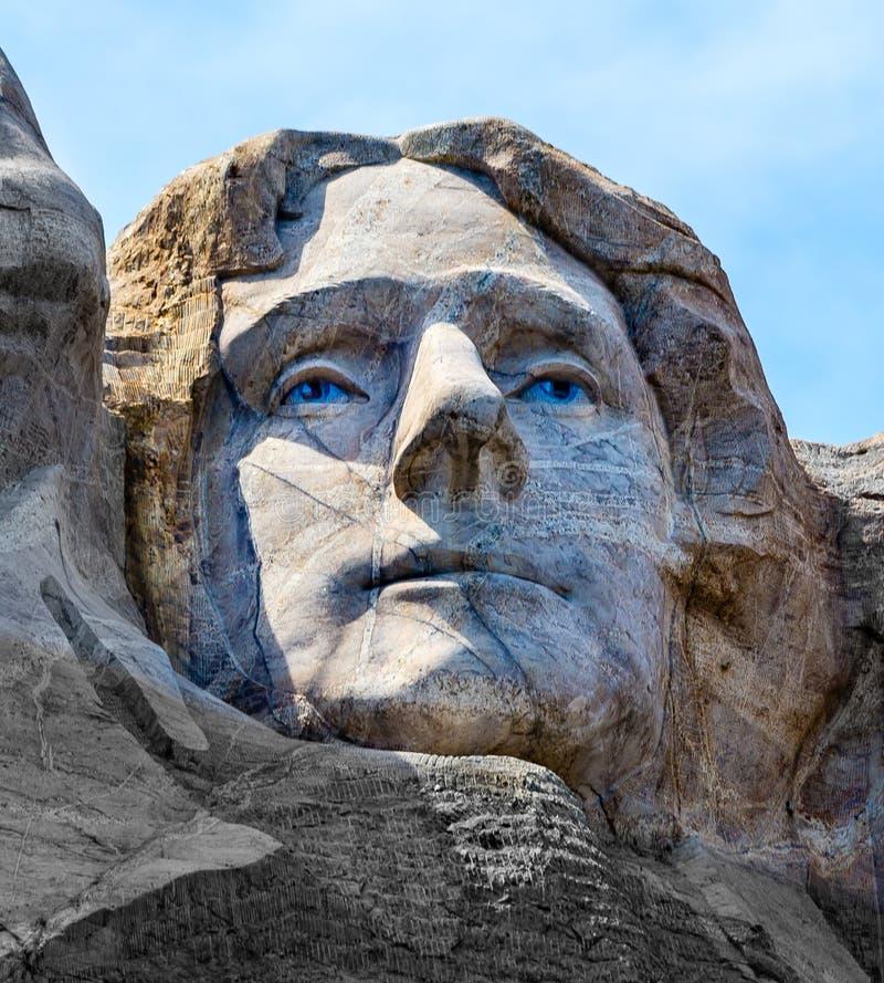 Thomas Jefferson op Onderstel Rushmore wordt gesneden die stock afbeeldingen