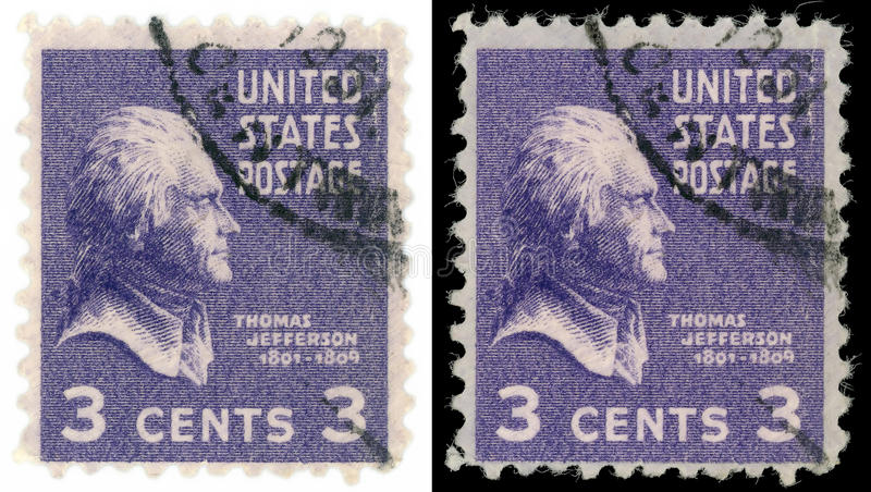 Thomas Jefferson stamp. Postmark of third President of the United States Thomas Jefferson (April 13, 1743 – July 4, 1826) isolated on black and white stock photography