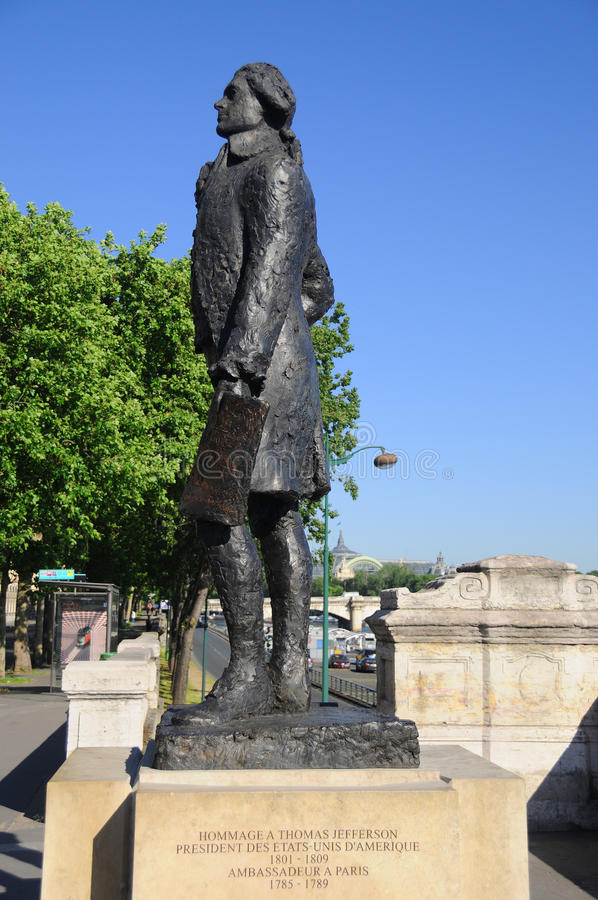 Thomas Jefferson statue Paris stock photo