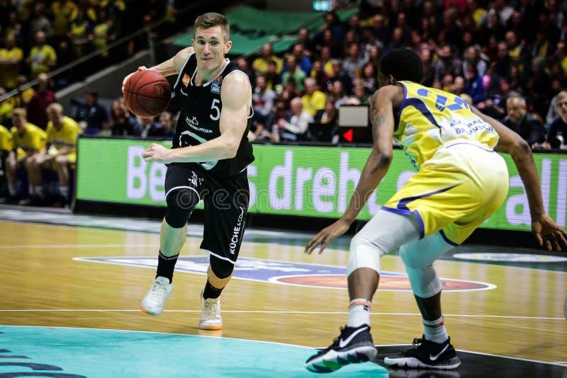 Thomas Joseph Bray in der Aktion während des Spiels stockbild
