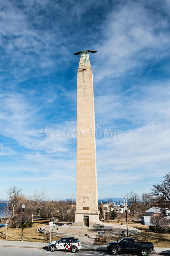 Thomas Macdonough Memorial Tower. Plattsburgh, NY / USA / March 23, 2016: Memorial commemorating Plattsburgh, New York role in American victory in War of 1812 royalty free stock images