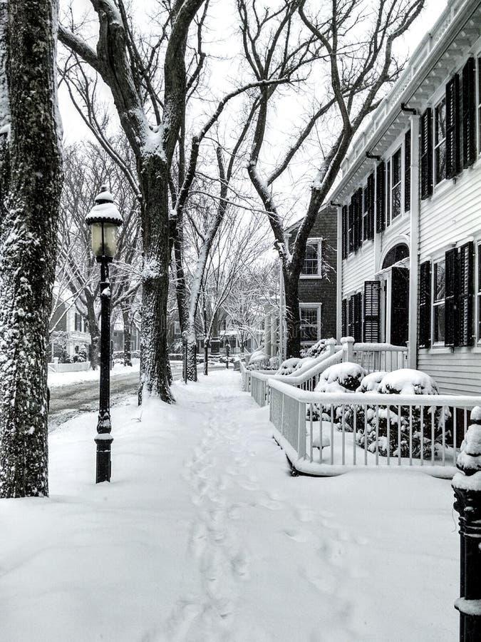 Historic Thomas Macy House covered in snow, Main Street, Nantucket, Massachusetts stock images