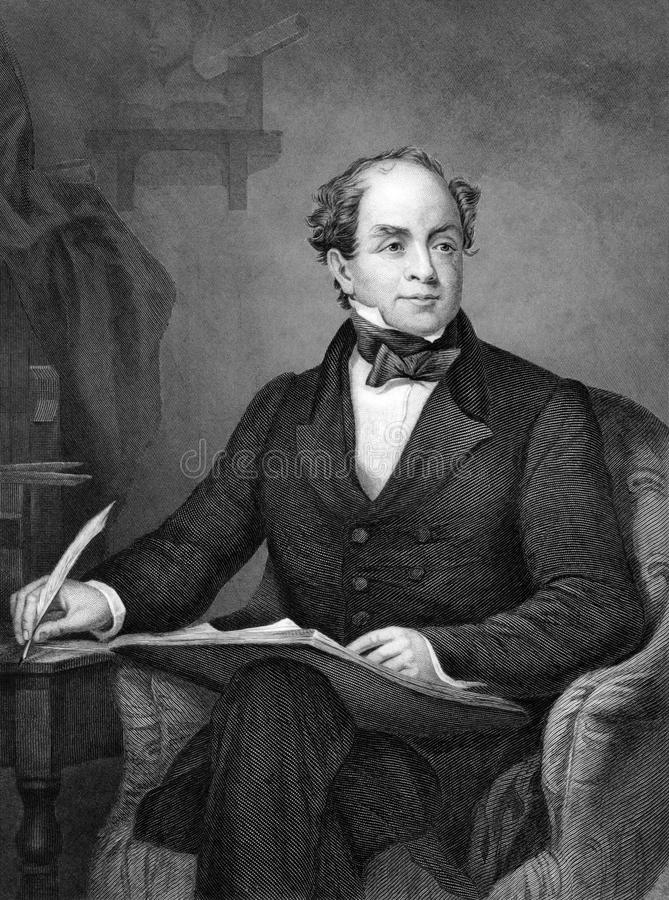 Thomas Moore. (1779-1852) on engraving from 1873. Irish poet, singer, songwriter and entertainer. Engraved by unknown artist and published in ''Portrait Gallery stock illustration