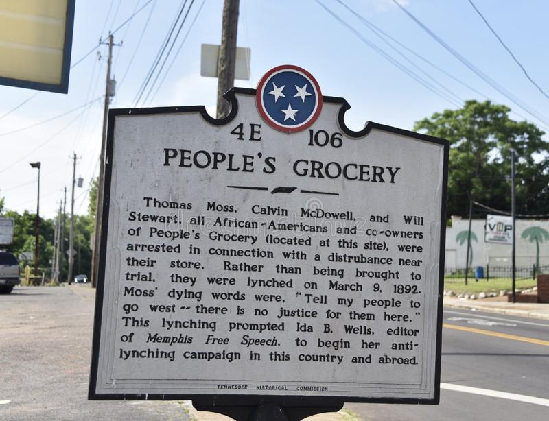 People`s Grocery Historical Marker, Memphis, TN. Thomas Moss, Calvin McDowell, and Will Stewart, all African-Americans and co-owners of People`s Grocery were stock photography