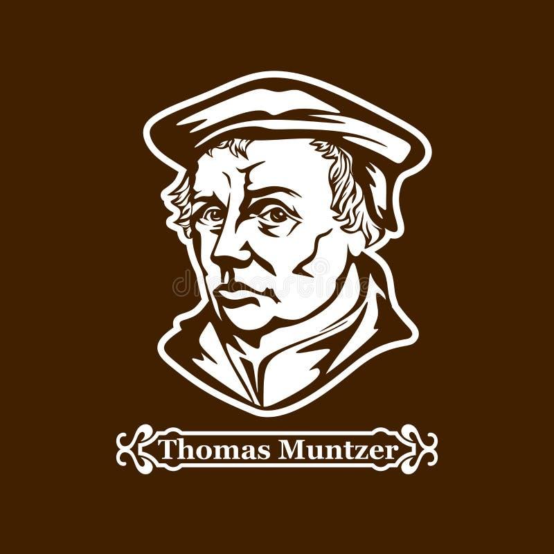 Thomas Muntzer protestantism Ledare av den europeiska Reformationen vektor illustrationer
