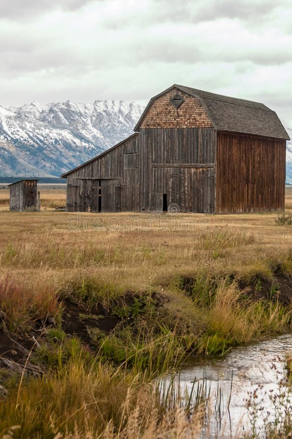 Thomas Murphy Barn i den storslagna Teton nationalparken royaltyfri bild