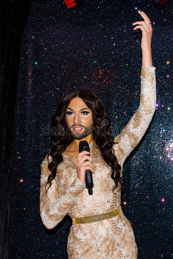Thomas Neuwirth wax statue, Madame Tussaud`s Museum, Vienna. Thomas Neuwirth is an Austrian singer, recording artist, and drag queen who is known for his stage royalty free stock images