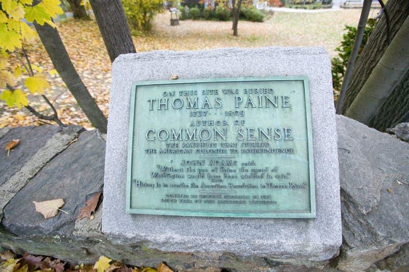 Thomas Paine miejsce pochówku w Nowym Rochelle, Nowy Jork obraz royalty free