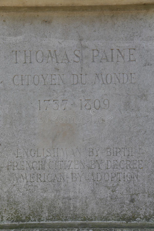 Thomas Paine statue base is found in the Parc Montsouris along the Boulevard Jourdan in the 14th arr.; the inscription reads: 'Eng. Lishman by birth French royalty free stock photos